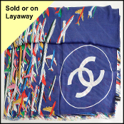 Chanel Airlines Blue/Multi Airplanes CC Logo Long Scarf Stole