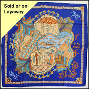 Hermes Cobalt Blue Les Printemps De Thera 90cm Silk Scarf