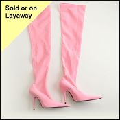 Size 40.5 Balenciaga Rose Dragee Knife Over The Knee Boots