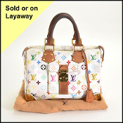 Louis Vuitton White LV Monogram Multicolor Speedy 30