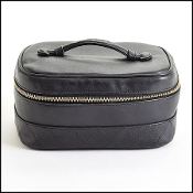 Chanel Vintage Black Leather Vanity Case