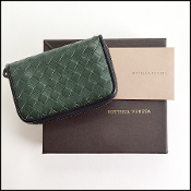 Bottega Veneta Green/Black Woven Coin Purse Card Wallet