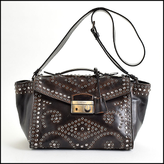 Prada Ebano Vitello Vintage Leather Studded Satchel