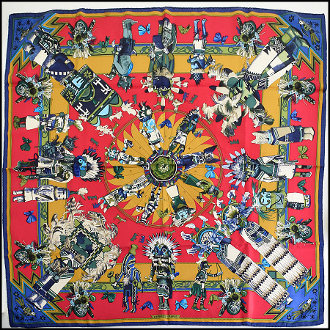 Hermes Navy/Red Kachinas 90cm Silk Scarf by Kermit Oliver