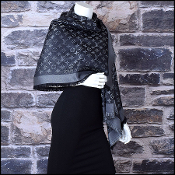 Louis Vuitton Black & Silver LV Monogram Shine Shawl