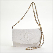 Chanel White Caviar Lambskin Timeless CC Wallet on Chain