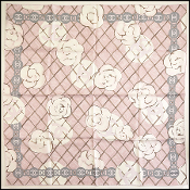 Chanel Pink/Ivory/Brown Classic Camellia Flower Silk Scarf