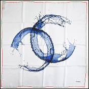 Chanel Summer '18 Grey & Blue Timeless Splash 90cm Silk Scarf