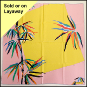 Emilio Pucci Yellow & Pink Birds of Paradise 90cm Silk Scarf