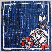 Chanel Fall '14 Royal Blue & Red Tweed Camellia 90cm Silk Scarf