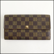 Louis Vuitton Damier Ebene Portefeuille Sarah Long Wallet