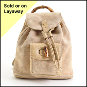 Gucci Beige Suede Bamboo Handle Backpack