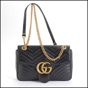 Gucci Black Leather Medium Matelasse Shoulder Bag