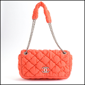 Chanel Red Bubble Quilted CC Fabric Bag