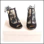 Size 38.5 Jimmy Choo Black Lace High Heel Booties