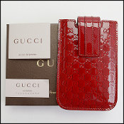 Gucci Red Patent Guccissima Leather iPhone Case/Holder