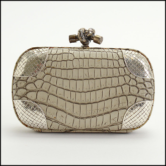 Bottega Veneta Crocodile & Silver Knot Clutch
