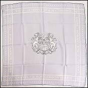Chanel Light Blue Lion Crest Silk Scarf