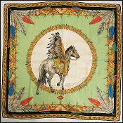 Atelier Versace Native American Indian Print Silk Scarf
