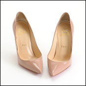 Size 36 Christian Louboutin Nude Patent Leather Heels