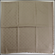 Louis Vuitton LV Monogram Taupe Silk/Wool Shawl