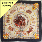 Hermes Vintage Black/Tan Chevaux de Trait 90cm Silk Scarf