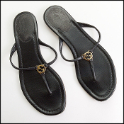 Size 36.5 Gucci Black Leather GG Logo Flip Flop Thong Sandals