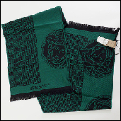 Versace Green/Black Medusa Wool Scarf