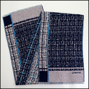 Chanel Blue Trim Tweed Cashmere/Silk Wrap