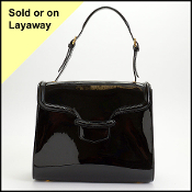 Alexander McQueen Black Patent Leather Heroine Flap Tote