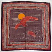 Bottega Veneta Vintage Plum/Red Crane & Turtle Silk Scarf