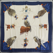 Hermes Blue/Ivory Chasse a' Vol Falcon 90cm Silk Scarf
