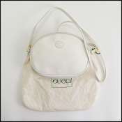 Gucci Vintage White Monogram Coated Canvas Crossbody Bag