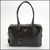 Prada Black Saffiano Leather Satchel