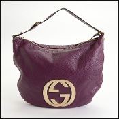Gucci Purple Goatskin GG Logo Blondie Hobo Bag