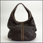 Bottega Veneta Ebene Dark Brown Cervo Double Hobo Bag