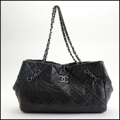 Chanel 2009/10 Black Soft Caviar Chain Strap Medium Cells Tote