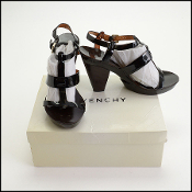Size 40 Givenchy Black Patent Leather High Heel Sandals