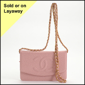 Chanel Pink Caviar Leather Wallet on Chain Crossbody