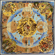 Hermes Multicolor Les Mythologies Silk Scarf by Kermit Oliver