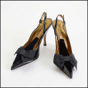 Size 37.5 Yves Saint Laurent Black Velvet & Patent Pumps