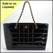 Chanel 2002 Black Patent Chain Strap Tote Bag