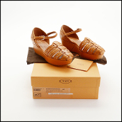 Size 37 Tod's Tan Leather Wedge Shoes