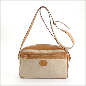 Gucci Vintage Beige Coated Canvas Box Bag w/Leather Strap