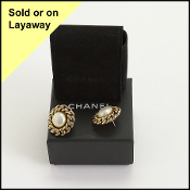 Chanel Round Pearl/Chain Post Earrings