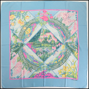 Hermes Light Blue Multicolor Floral Giverny Silk Scarf