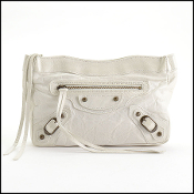 Balenciaga Blanc White Chevre Leather Makeup Clutch Pouch Bag