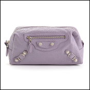 Balenciaga Glycine Lilac Lambskin Pencil Case Pouch Bag