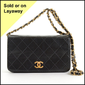 Chanel Black Quilted Lambskin Full Flap Evening Bag