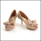 Size 37 Valentino Dusty Rose Lace Bow Peep Toe Pumps